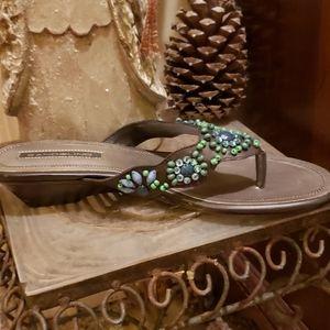 NWT Bandolino Beaded Leather Sandles